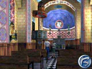 Místní kostel je vyzdobený tajuplnými světskými motivy