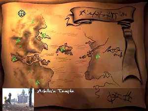 Mapa země s asi 20 lokacemi, po kterých se budete pohybovat