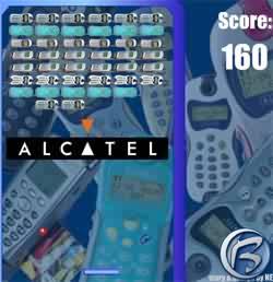 Screenshot ze hry Arkanoid, v níž bylo možné vyhrát mobilní telefon Alcatel