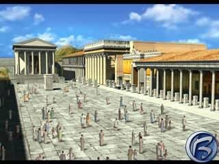 Zalidněné hlavní náměstí Pompeii několik minut před katastrofou