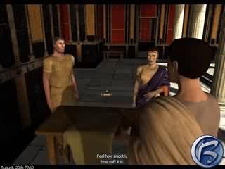 I v Pompeii potkáte hromadu podvodníků. Tento například kšeftuje s rádobykvalitní tkaninou