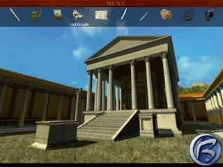 Apollův chrám. V horní části obrazovky je vidět herní inventář