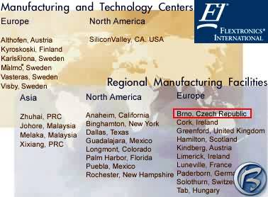 Seznam poboček firmy Flextronics International