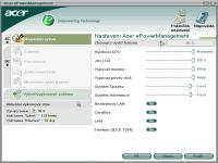 Acer ePowerManagement - větší obrázek z programu