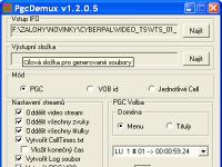 PgcDemux - větší obrázek z programu